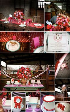 Red and pink equestrian themed wedding