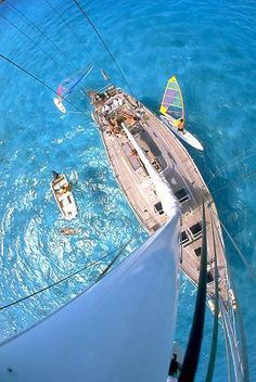 great boat day: anchored in crystal clear water & you get to play with all the toys