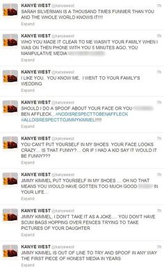 It's been years since Kanye West has been on any of his outreagous rants,  but following his rant at Pusha T listening party earlier this month, kanYe' went on a rampage after  Jimmy Kimmel spoofed the rapper's BBC Radio 1 interview.  Kimmel filmed a child reading Kanye's quotes, why?  because Kanye is child like.  Earlier today Kanye responded with tweets in all caps, this makes one of his most outrageous rants yet.