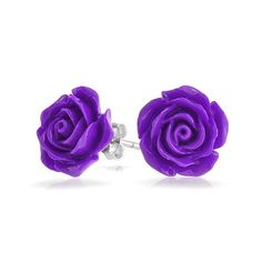 Bling Jewelry 925 Silver Simulated Amethyst Resin Flower Rose Stud... ($14) ❤ liked on Polyvore featuring jewelry, earrings, purple, silver earrings, flower earrings, rose stud earrings, silver stud earrings and stud earring set