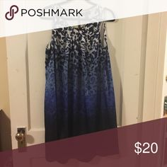 Dana Buchman Satin Leopard Print Dress Beautiful dress with leopard design. Top is a light gray fading into darker hues of blue to the bottom. Worn a few times. Great condition. Dana Buchman Dresses Midi
