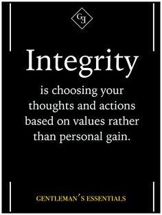Valores gobernantes: para mi lo mas importante es ser fiel a mi misma y a mis ideales. Por eso la integridad es un valor vital en mi vida diaria, porque intento siempre actuar conforme a mis ideales y a los valores que me inculcaron en casa; aunque esto signifique ir en contra de mis propios intereses de vez en cuando.