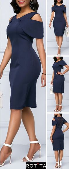 Navy Blue Sheath Dress is enough to make any girl's heart race with excitement! Feel your best in this dress with Cold Shoulder lace dress. Elegant Dresses, Cute Dresses, Beautiful Dresses, Latest African Fashion Dresses, African Print Fashion, Dress Outfits, Fashion Outfits, Spandex Dress, Trendy Clothes For Women