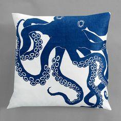 Dermond Peterson Octopus Indigo Pillow- White Linen