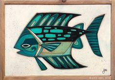 """Fish Outta Water 046"" © Erik Abel 2014.<br>13.5"" x 19.5"" Acrylic, marker, colored pencil on wood.<br>Frame: Reclaimed Redwood"