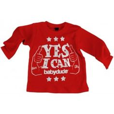 Rood T-shirt 'Yes I Can' - Babydude