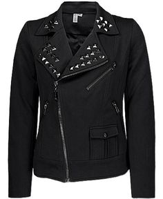 Smash Pyramid Stud Moto Jacket SALE $32.47 was $64.95 Item #82650IBL2126  Asymmetrical zip-up jacket  Zipper and buckle accents