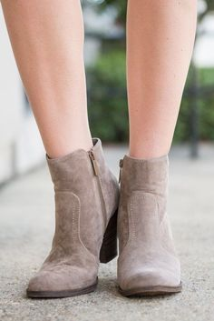 """Tempting Trails Booties, Taupe"" If these booties aren't temping them we don't know what is! They are beautifully simplistic which makes them the perfect go to booties! They match everything!! #newarrivals #shopthemint"