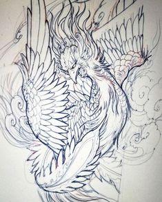 Ideas For Phoenix Bird Drawing Style Japanese Pheonix Tattoo, Japanese Tattoo Art, Tattoo Design Drawings, Bird Drawings, Pheonix Drawing, Tattoo Studio, Japanese Phoenix, Rooster Tattoo, Backpiece Tattoo