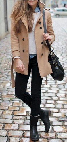 Camel Coat + White Sweater + Chambray Shirt + Black Jeans