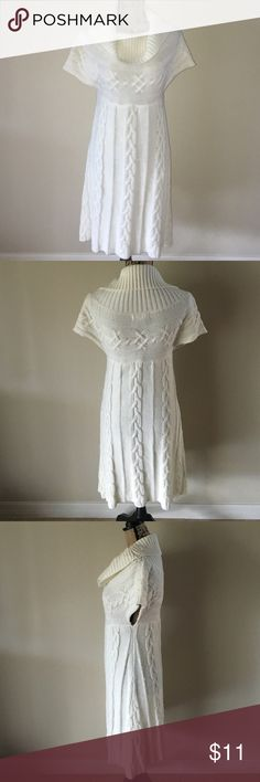 PRICE ⬇️ Ivory Sweater Dress Never worn (w/o tag). Ivory sweater dress, Size L. I suggest wearing black under garments underneath due to transparency in light or wear leggings. Dresses Midi