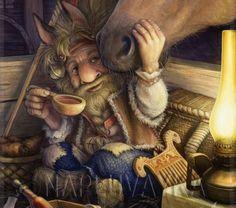 Vladimir Arzhevitin - Vazila (a guardian spirit of horses in Slavic folklore) Mythological Creatures, Fantasy Creatures, Mythical Creatures, Fantasy Kunst, Fantasy Art, Folklore, Eslava, Psy Art, Gods And Goddesses