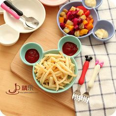 Cartoon Dinner Plate Snack Fruits Holder Fork Spoon Cute For Kids Mickey Pattern  | eBay