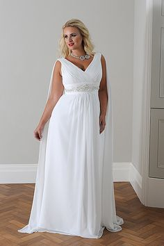 I like this style (maybe minus the cape thing) for a mother of the bride dress.