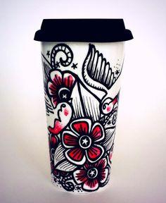 16oz Ceramic Travel Mug Birds Tattoo Swallows Flowers Hand Painted by sewZinski