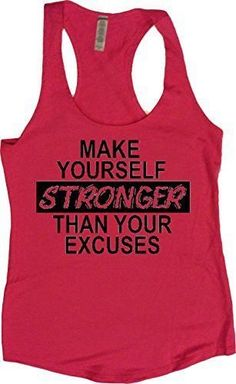 """Women's Workout Fitness Racerback Tank - """"Stronger Than Your Excuses"""" - 4.9 oz - 65% polyester/35% combed ring-spun cotton jersey Hand printed on incredibly soft, comfortable racerback terry tank, per"""
