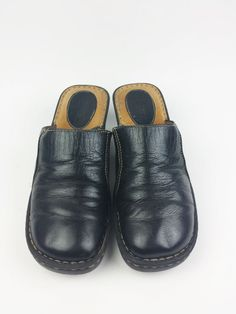 Black Leather Slip On Wedge Comfort Clogs Mules