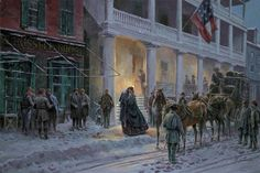 """Mrs. Jackson Comes to Winchester """"Stonewall"""" and Mary Anna at the Taylor Hotel, December 23, 1861 by Mort Künstler"""