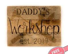 Christmas for dad Gifts for dad custom gifts for dad Gift for grandfather Workshop signs Garage sign Gifts for new dad Custom gifts for men