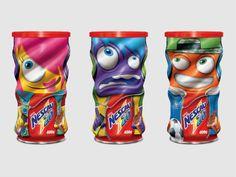 Latas colecionáveis de Nescau criadas pela Nestlé para a Rede Walmart trazem desenhos de personagens coloridos.