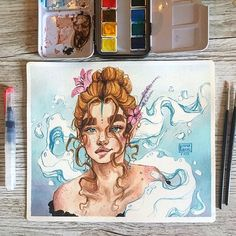 New painting! I actually filmed this one lol 😂 still need to edit it but it should be up in the next two weeks ✨ Watercolours + brushes:… Watercolor Illustration, Watercolor Art, Art Sketches, Art Drawings, Arte Sketchbook, Sketchbook Inspiration, Pretty Art, Aesthetic Art, Portrait Art