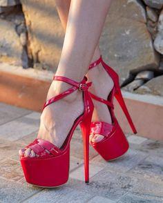Thigh High Heels, Red High Heels, High Heels Stilettos, Stiletto Heels, Hot Heels, Sexy Heels, High Platform Shoes, Stripper Heels, Pantyhose Heels