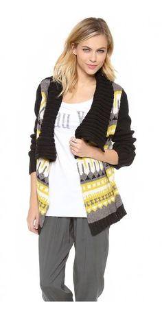 CUT25 BY YIGAL AZROUEL  FAIR ISLE CHUNKY DRAPE FRONT CARDIGAN $100.75