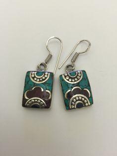 Tibetan silver small solid artisan handmade turquoise, lapiz & coral stone earrings  1.7 X .7 cm rectangles.