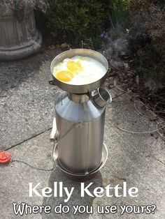 """In the back yard, just for the fun of it!""  Charles Todd frying two eggs as his #KellyKettle boils.  --  N.B. Remember to keep the kettle filled with water when cooking over the chimney top!  --  Kettle pictured is our stainless steel 'Base Camp' Model which boils 1.6 liters (54 us fl.oz) at a time.   Want a chance to win some free gear?    Then visit www.kellykettle.com or www.kellykettleusa.com  and enter your Kelly Kettle or Outdoors picture in our monthly giveaway Competition!  It's… Kelly Kettle, Giveaway, Competition, Coffee Maker, Eggs, Backyard, Outdoors, Base, Stainless Steel"