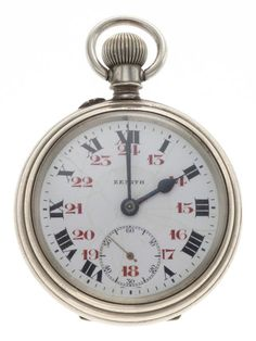 Zenith Railroad Pocket Watch Case: nickel silver, 54 mm, double hinged back with fancy monogram and locomotive - Available at Tuesday Internet Watch and. Swiss Pocket Watches, Railroad Pocket Watch, Pendant Watch, Nickel Silver, Watch Case, Vintage Watches, Luxury Watches, Gold Watch, Clock