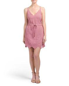 main image of Juniors Embroidery Detail Sleeveless Dress