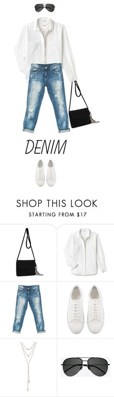 """""""Denim Distressed"""" by drigomes ❤ liked on Polyvore featuring The Sak, Lacoste, Sans Souci, SUGARFIX by BaubleBar and Yves Saint Laurent"""