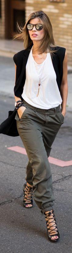 Boyfriend Cargo Pants White Sleeveless Blouse Black Vest Trendy Chic Street Fall Inspo by Ms Treinta