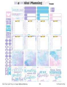 I am loving the watercolors and the quotes! I really hope you like it. Please leave me a comment, I would love to know what you think abo… To Do Planner, Free Planner, Erin Condren Life Planner, Planner Pages, Happy Planner, Bujo, Planer Organisation, Etiquette Vintage, Planner Supplies