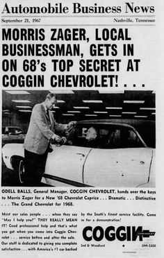 Chevrolet Dealership, Car Dealerships, Chevrolet Caprice, Old Classic Cars, Nashville Tennessee, Business News, Vintage Cars, Automobile, Car
