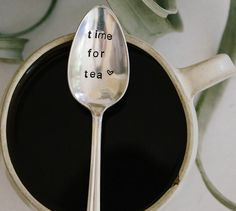 THERE IS ALWAYS TIME FOR TEA ♥ I had so many requests for spoons for tea lovers! It seems in my coffee loving craze, I forgot about you tea lovers...well not anymore! FOR THE TEA LOVER IN YOUR LIFE! Maybe thats You! Perfect to give with a unique Mug & some delicious tea! ♥ This is an ORIGINAL design by jessicaNdesigns (2012) ♥  ♥ This listing is for ONE (1)  time for tea ♥  hand stamped vintage spoon with heart stamp. The other pictures are just examples of other spoons I make! ♥ Need it ...
