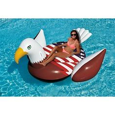 Giant American Bald Eagle Inflatable Pool Float for Adults  | eBay  Show off your American pride this summer with the Patriot Eagle Inflatable Pool Float for Adults, an inflatable pool raft shaped like a bald eagle with an American flag waving across its back. Sure to be a hit at your Fourth of July party or Memorial Day celebrations, the Patriot Eagle Float is great for use in the pool, lake, or ocean.