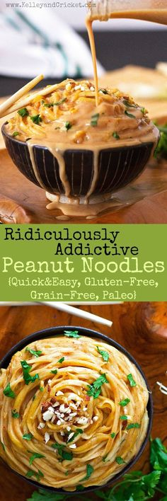 These ridiculously a  These ridiculously addictive peanut noodles are so good you won't be able to stop eating them, but don't worry- they are super healthy! Gluten-free, grain-free, and paleo they make a super quick and nutritious lunch and are ready in under 15 minutes!  https://www.pinterest.com/pin/74872412539013080/