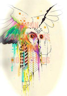 Owl City Original Watercolor Painting