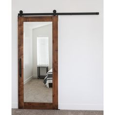 {This modern barn door is a fun alternative to a rustic farmhouse .{This modern barn door is a fun alternative to the rustic farmhouse look.}Country chic: 29 sliding door ideas - home decorsCountry Chic: 29 Mirror Closet Doors, Bedroom Closet Doors, Barn Door Closet, Diy Barn Door, Sliding Barn Door Hardware, Mirror Door, Diy Door, Mirror Bedroom, Bedroom Wardrobe