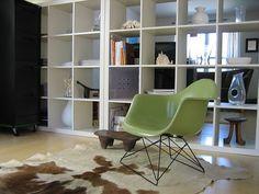 Case Study Fiberglass Arm Shell Chair in Jadeite on Low Rod Black Base.