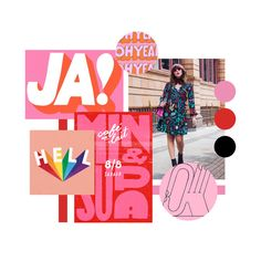 Megan Ellaby Mood Board | Retro 70s 60s design | Bright Vibrant Colours | Pink and Red | Gatto Branding and Website Design