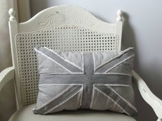 Hand dyed Union Jack pillow in grey tones. Perfect for rustic or shabby chic decor. at https://www.etsy.com/ca/listing/254499628/union-jack-pillow
