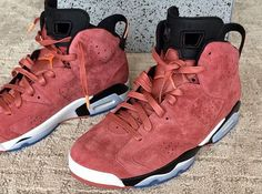 macklemore red suede air jordan 6 pe Macklemore Shows Off Air Jordan Red Suede PE Popular Sneakers, Latest Sneakers, Air Jordan Red, Jordan Vi, Custom Jordans, Nike Kicks, Champions, Suede Sneakers, Jordan Shoes