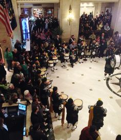 Bagpipe performance #1 at The Roosevelt Hotel