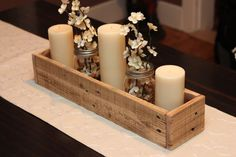Kitchen table centerpiece for home candles 67 Ideas Dining Room Table Centerpieces, Candle Centerpieces, Centerpiece Decorations, Wooden Box Centerpiece, Dining Table, Everyday Table Centerpieces, Graduation Centerpiece, Dining Rooms, Wedding Centerpieces