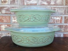 Vintage Pyrex Sage Green with Goldleaf Scroll design 043 and 045 casserole with lid. My favorite thrift store find.