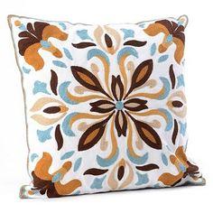 Blue & Brown Medallion Tile Pillow at Kirkland's