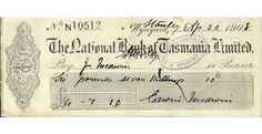 1908 National Bank Of Tasmania Wynyard Cheque This next bank cheque in the Tasmania series is from the Wynyard branch of the The National Bank of Tasmania Limited.  It is in very nice condition overall given that its more than a century old.  - See more at: https://www.noteworthy-collectibles.com/1908-National-Bank-Of-Tasmania-Wynyard-Cheque#sthash.F11wi2Zj.dpuf
