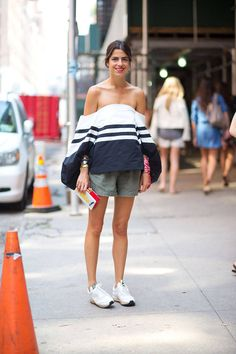 shoulder dress with sneakers